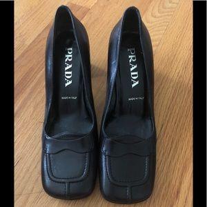 Prada Square Toe Stacked Heel Loafer
